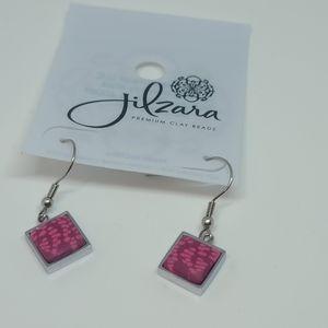 Jilzara premium clay bead silver & pink earrings